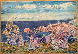 Maurice Prendergast On the Beach Giclee Canvas Print Paintings Poster Reproducti
