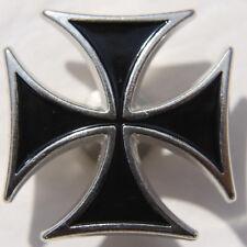 Biker Chopper Iron Cross Black snap button cruz cruz pulsador botón nuevo
