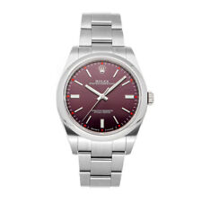 Rolex Oyster Perpetual Steel Auto 39mm Red Grape Dial Mens Watch Bracelet 114300