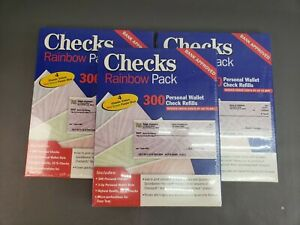 3 Lots of Checks Rainbow Packs - Personal Wallet Check Refills 900 Total Checks