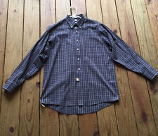 Geoffrey Beene 16 1/2 34/35 gray & red grid plaid button up long sleeve shir