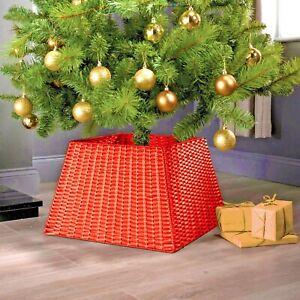 Rattan Christmas Xmas Tree Skirt Wicker Stand Base Basket Cover Floor Decoration