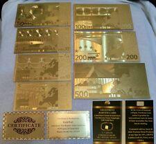 LOTTO DI BANKNOTES EURO IN FOGLIA D'ORO CON LINGOTTO PURO 24KT GOLD CERTIFICATO.