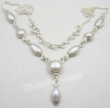 """Pretty Necklace 18.2"""" Gift For Friend 925 Solid Silver White Aaa White Pearl"""