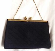 Vintage 1950's TwiFaille by Rosenfeld Quilted Black Evening Bag - EUC