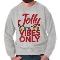 Jolly Vibes Only Christmas Lights Xmas Gift Adult Long Sleeve Crew Sweatshirt
