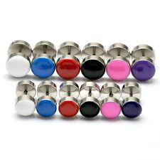 Colorful Acrylic dumbbell Stainless Steel Punk Men Women Pierced Stud earrings