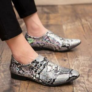 Men's Snakeskin Casual Pointed Toe Loafers Business Nightclub Dress Party Shoes