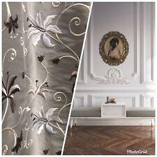 NEW! 100% Silk Embroidered Dupioni Taffeta Fabric - Floral Silver Gray Floral