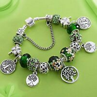 European style bracelet Lucky Clover Life Of The Tree Green Crystal Charm