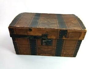 """Vintage Covered Wood Case Box with Handles Latch Closure 12"""" L"""
