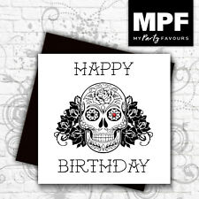 'Sugar Skull' hand made tattoo style birthday card with gem stone eye
