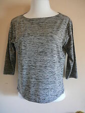 Knit Top Sz L Black Rayon Polyester 3/4 Sleeve Scooped Neck Frazier Lawrence