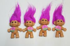 Russ Sparkling Good Luck Troll w Purple Hair 4 Inch lot of 4 new in bags