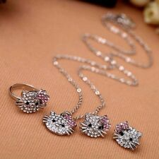 NEW Hello Kitty Fashion Rhinestone Earrings Rings Necklace Set Jewelry For Girls