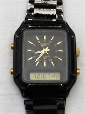 Citizen QUARTZ UOMO Nero Vintage Orologio Digitale Analogico 80s CON FASCIA ORIGINALE