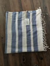 Fair Seas Supply Co. Turkish Towel Blue/Stripe 100% Organic Cotton Large New