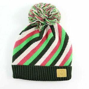 Nixon Candy Striped Beanie Hat Green Pink Black One Size