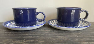Midwinter Blue Palm Cups And Saucers X 2 Retro Vintage