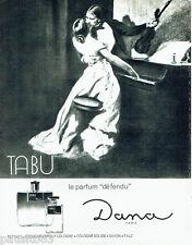 PUBLICITE ADVERTISING 036  1965  Dana eau de cologne Tabu parfum dEFENDU