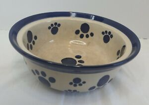 Beige & Blue Dog Bowl with Paws and More Paws Ceramic Food Water Bowl