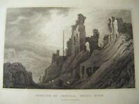 1830 Antique Print of Remains of Castell Dinas Bran, Denbighshire - Gastineau