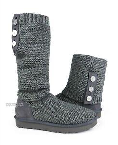 UGG Purl Cardy Knit Charcoal Knit Fur Boots Womens Size 9 *NIB*