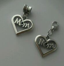 Mom Heart Dangle Charm Bead Fits European Bracelet/Necklace Or Clip On Charm