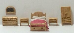 DOLLHOUSE MINIATURE Set:144 Scale Country Style Bedroom Set Complete Kit (6PC)