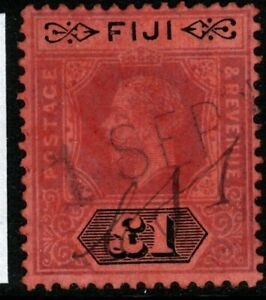 FIJI SG137 1914 £1 PURPLE & BLACK/RED FISCALLY USED