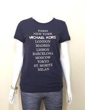 MICHAEL KORS WOMEN'S City Graphic Signature T-Shirt -True Navy/ Large