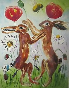 """Greeting Card, Hares Boxing among the Flowers 7"""" by 5"""""""