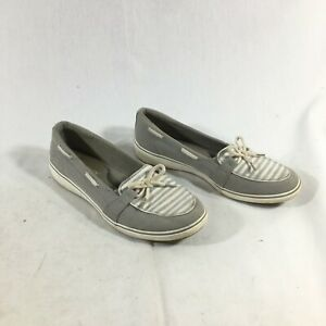 Grasshoppers Ortholite Womens Gray Windsor Bow Canvas Slip On Shoes Size 7.5M