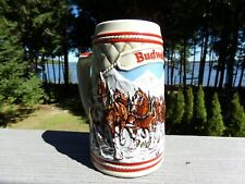 Budweiser 1985 A Series Winter Holiday Clydesdales Collector Beer Stein Mug