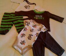 Baby Boy Clothes Pants Tops Monkeys 0-3 Mo LOT OF 5 Carters , OshKosh