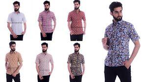 Indian Hand Block Print Men's Shirts Design Floral Print Tops Dress Cotton Shirt
