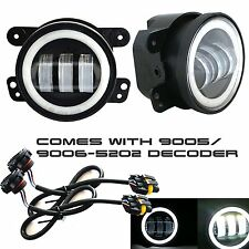 4'' INCH Led Fog Light White Halo Angel Eye Offroad 07-15 Jeep Wrangler JK ATV