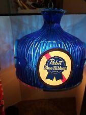 (VTG) 1970s pabst beer blue hanging crystal lamp light up bar sign PBR