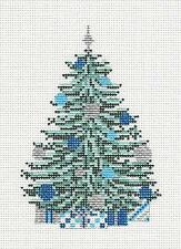 NEW Needle Crossings Blue & Silver Tree handpainted Needlepoint Canvas Ornament