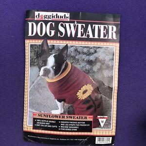 New NWT Doggiduds Knitted Dog Maroon Sunflower Sweater w/ Leg Straps Knit