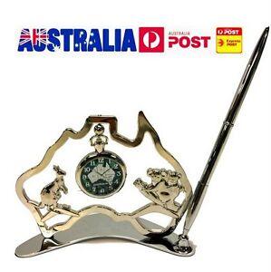 Australian Hollow Map&Watch Kangaroo Koala w Pen Australia Souvenir Table Clock