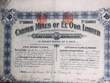 Mexique 1900 Carmen Mines of El Oro Action Share Thomson Mine d'or Amérique