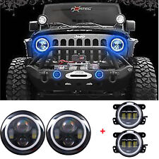 Combo Kit LED Halo Headlights+LED Fog Light DRL For Jeep Wrangler JK Blue Signal