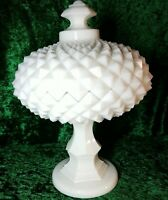 Vintage Westmoreland Diamond Pattern Milk Glass Pedestal Footed Candy Dishe. 3MG