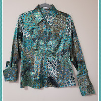 Puli Women's Peacock Paisley Print Long Sleeve Blouse | Size 8 | Ruched Front
