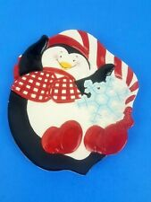 Fitz and Floyd Essentials Cool Christmas Penguin Plate Dish Display