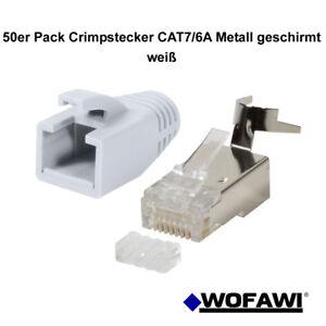 wofawi® 50Stck Netzwerk-Stecker CAT7 / 7A / 6A Hülle,Crimp RJ45 Metall weiß