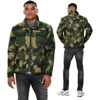 Only & Sons Men's Army Camouflage Quilted Solid Printed Padded Jacket Coat