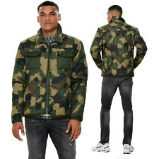 Only & Sons Mens Army Camouflage Quilted Jacket Casual Winter Warm Coats Outwear