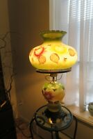 Vintage 3-way Hurricane Gone With The Wind Green  Hand  Painted Parlor Lamp